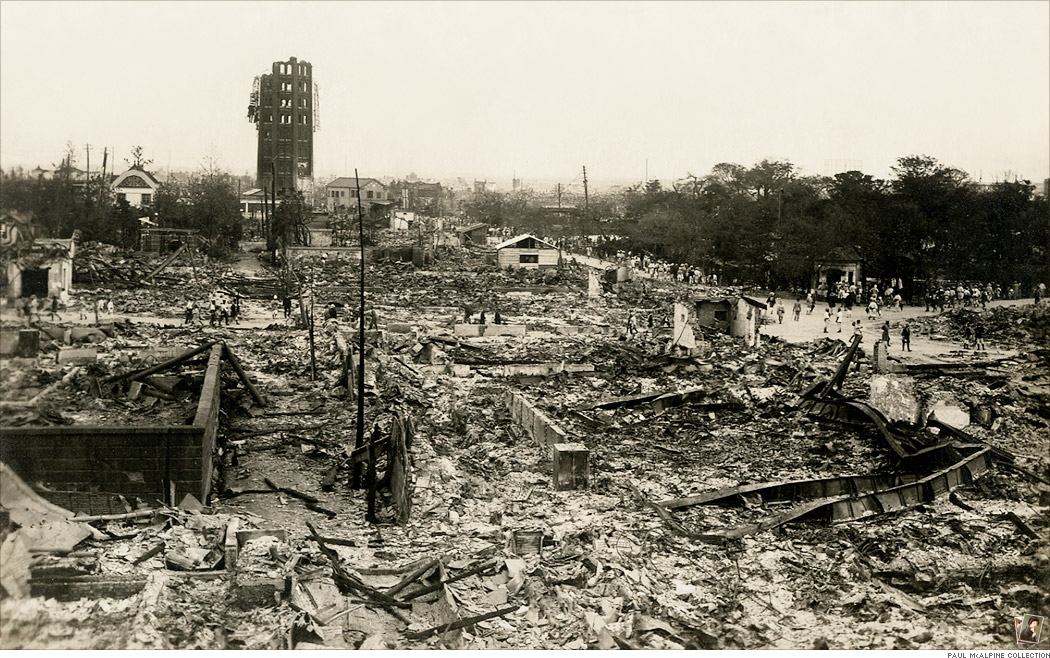 震災直後の浅草公園第六区と十二階