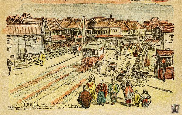 日本橋を通過する鉄道馬車